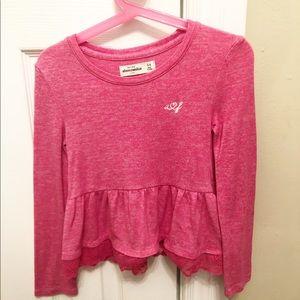 Abercrombie Kids Pink Peplum top size 5/6 Y